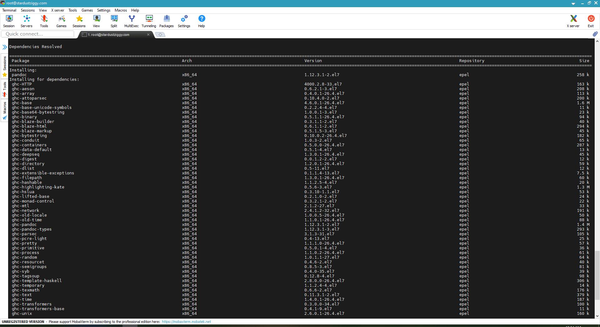 Command line terminal window of Pandoc installation.