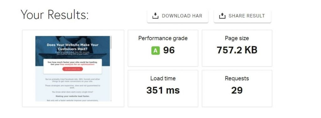 Pingdom Website Speed Test for WordPress caching