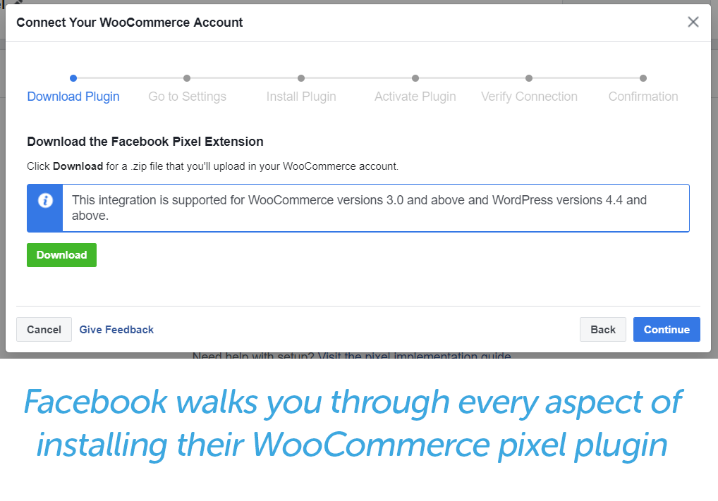 facebook prompts for connecting your woocommerce account to the Facebook pixel extension