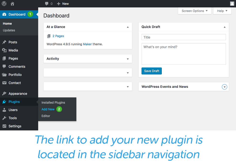 new plugin link in sidebar navigation WordPress