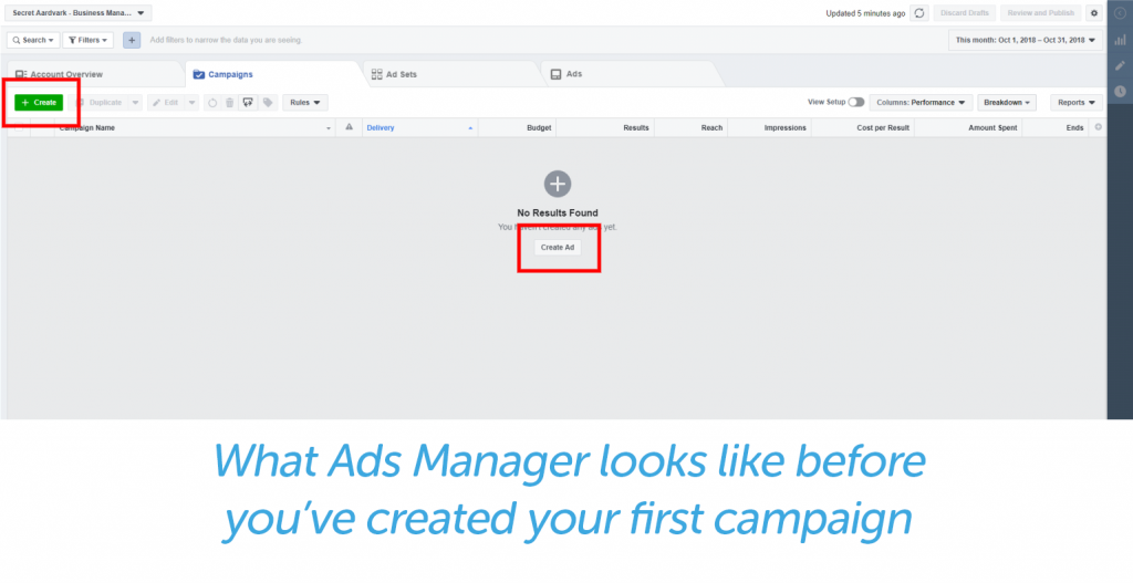 Ads manager before first campaign