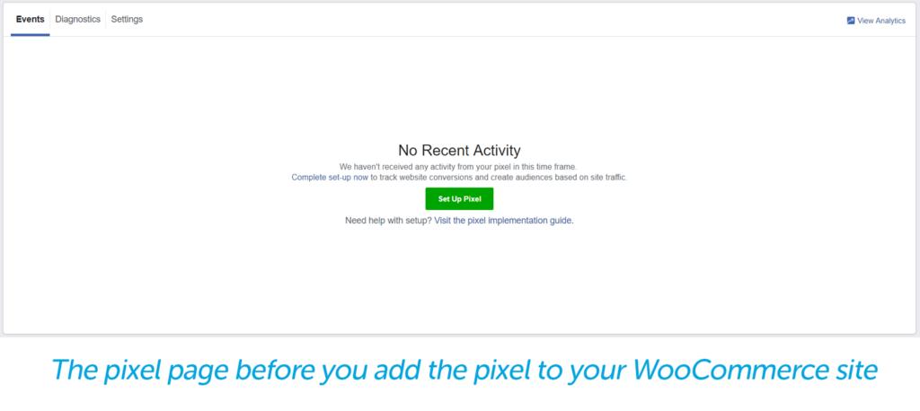 No recent activity, setup a pixel