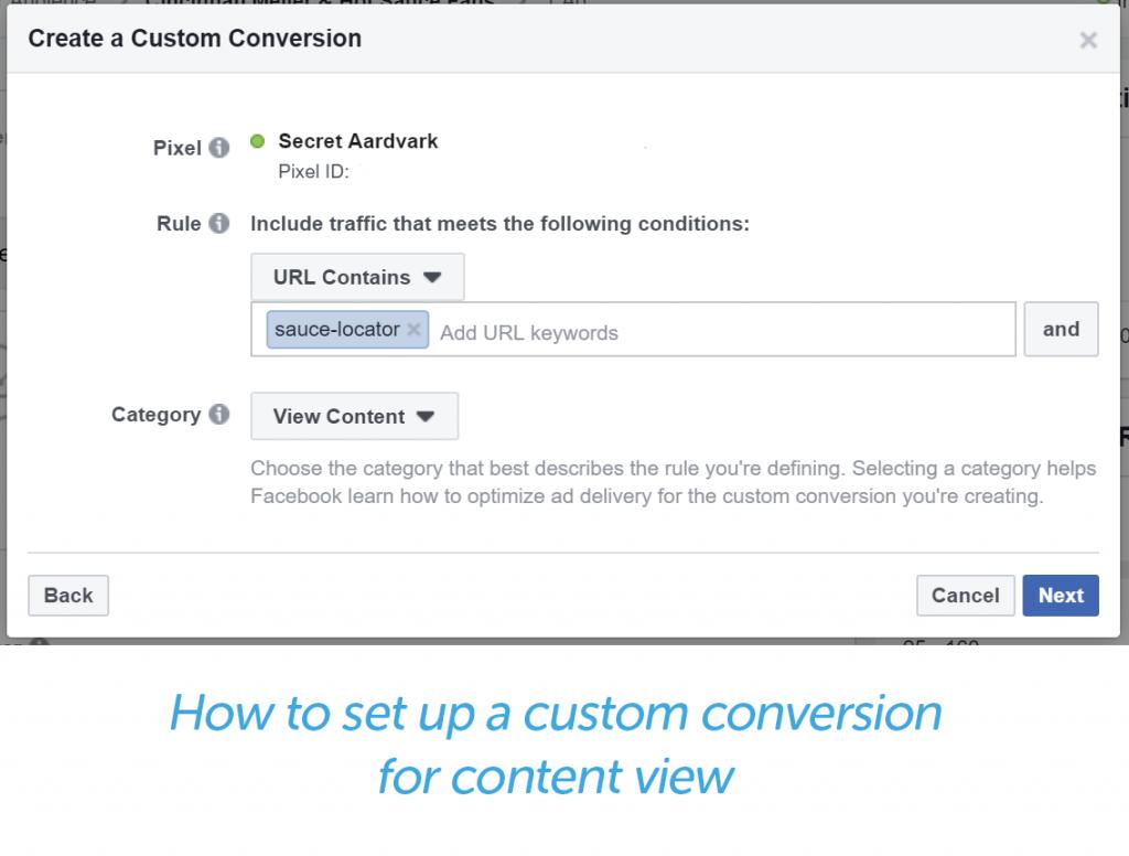 create a custom conversion - select the rules