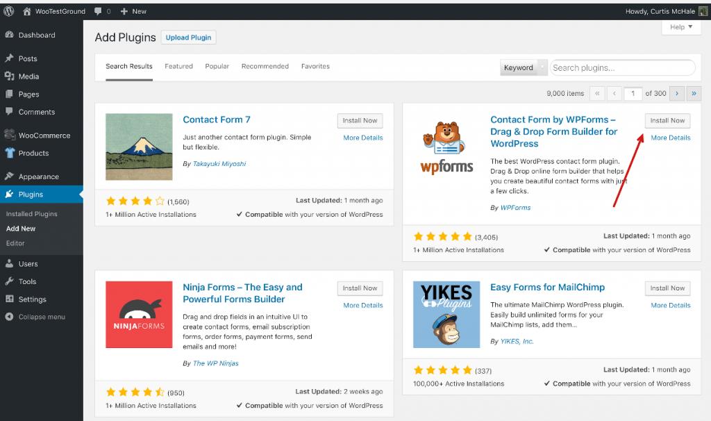 Installing WPForms from the Plugins menu in WordPress