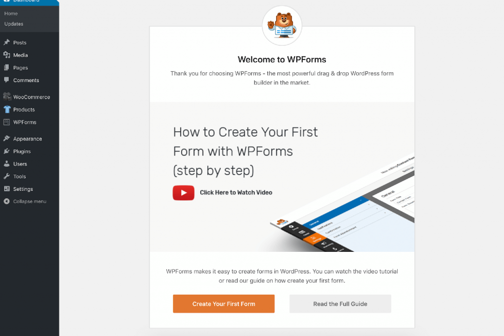 Configuring WPForms after activating