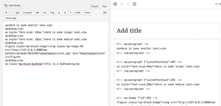 Current WordPress Code Editor vs Gutenberg