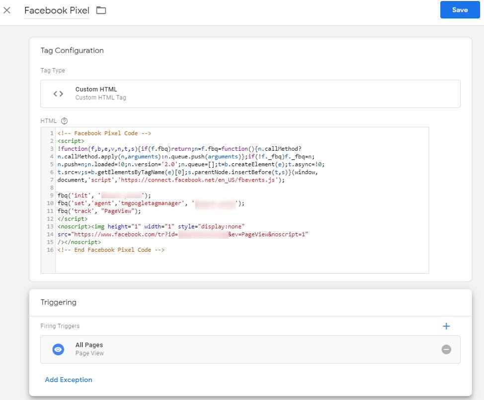 Custom facebook code pixel