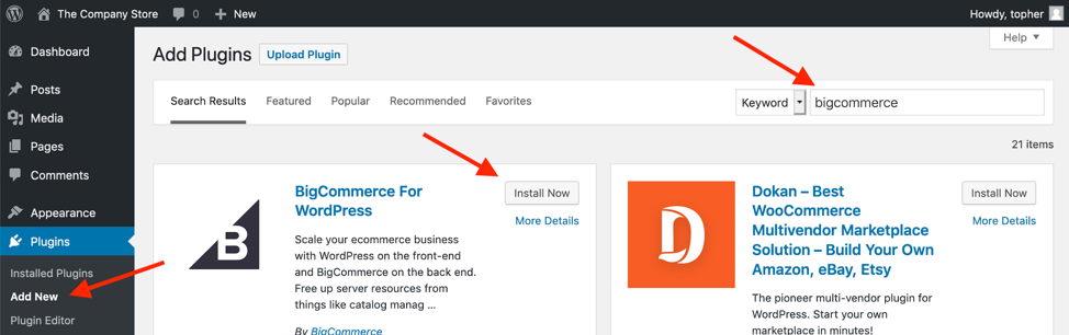 Easy to install bigcommerce from the plugin directory