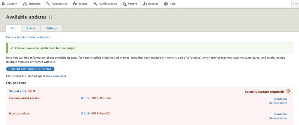 Finding Updates in Drupal 8