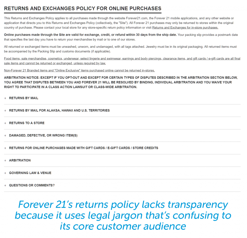 Forever 21 return policy is cold and language not meant for audience