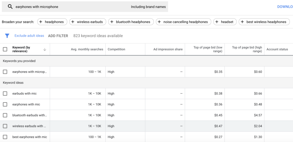 Google Keyword planner used to search for headphones