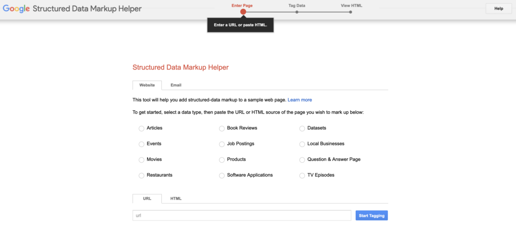 Google Structured Markup Helper tool the the categories you can choose