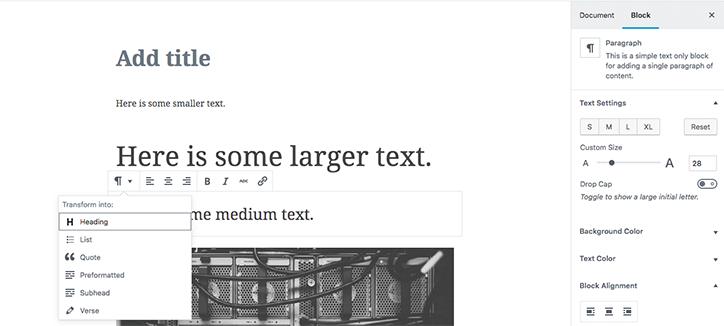 Gutenberg block and Text properties