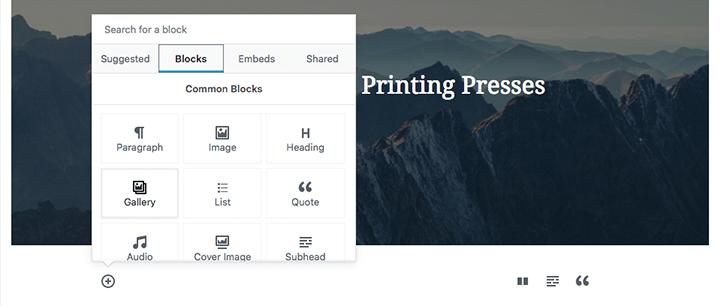 Inserting Blocks in WordPress Gutenberg