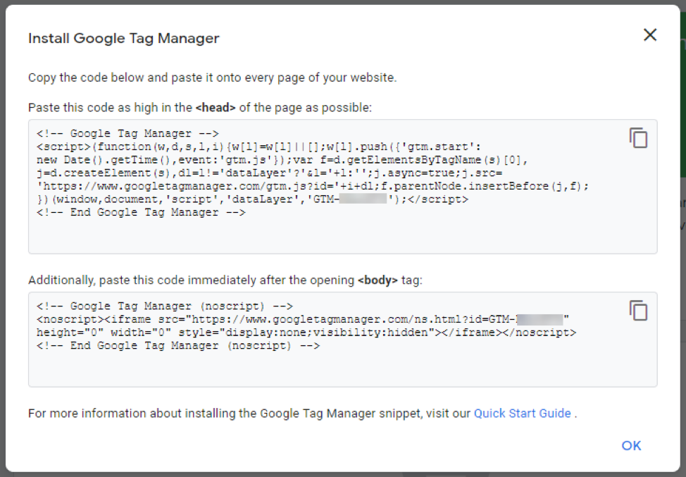 Install the tag manager code