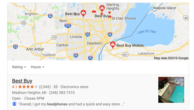 Map of local businesses to buy a product from