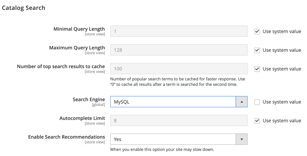 MySQL search options through the Magento Catalog