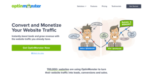OptimMonster homepage for optimizing WordPress conversions