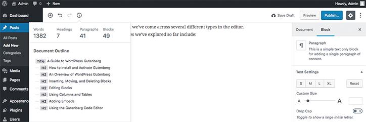 Other Admin function of WordPress gutenberg
