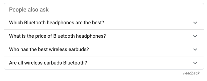 People also ask in Ecommerce SERPS