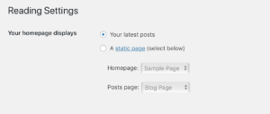 Reading Configuration for WordPress Front Page