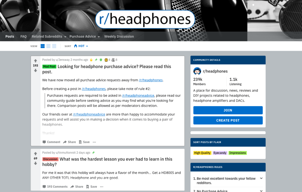 Taking a look at how headphones are discussed on Reddit