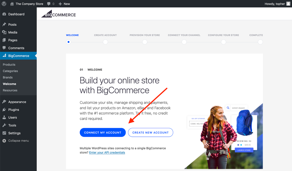 The BigCommerce onboarding wizard starts automatically