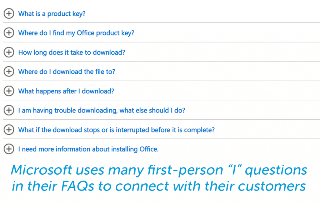 Use I statements and questions when drafting your FAQ questions