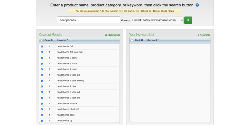 Using keyword tool dominator to scrape amazong search suggestions