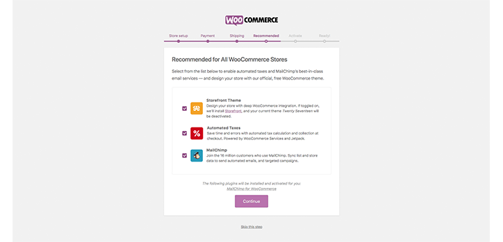 WooCommerce Recommended extensions