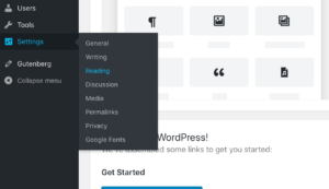 WordPress Reading Menu for Front Page