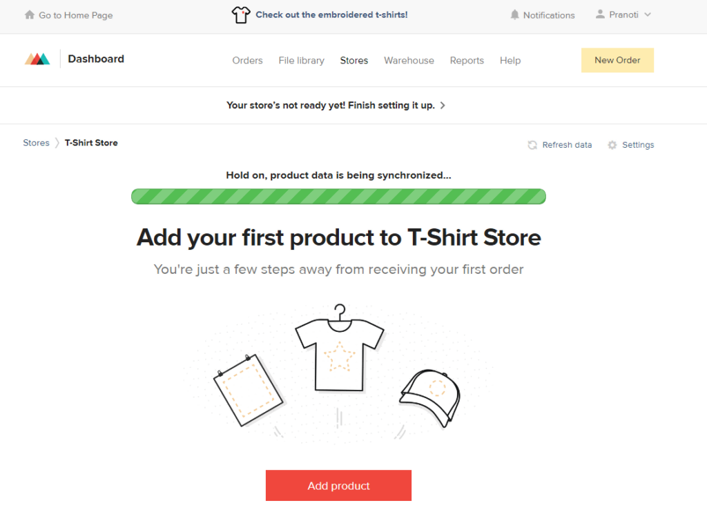 add your first t-shirt product to your store