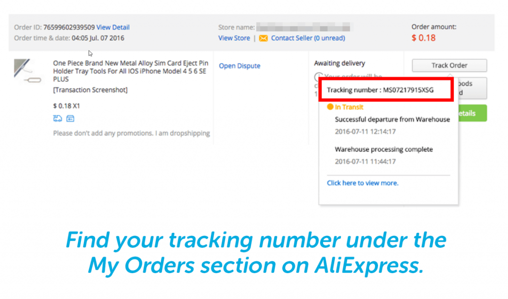 aliexpress shipping tracking number is under my orders section