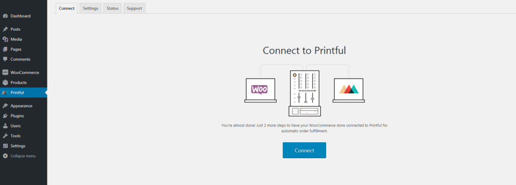 approve connection between woocommerce and printful