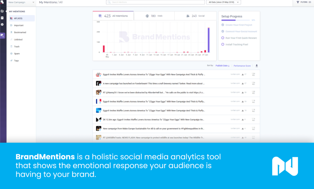 BrandMentions is a holistic social media analytics tool that shows the emotional response your audience is having to your brand