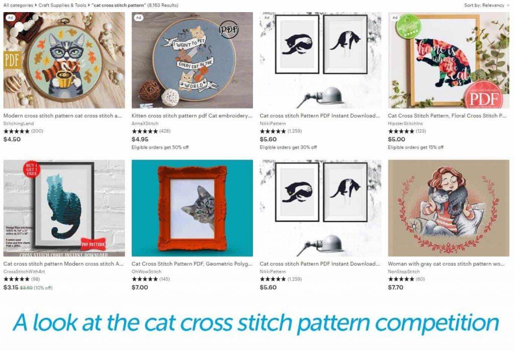 cat cross stitch search on Etsy