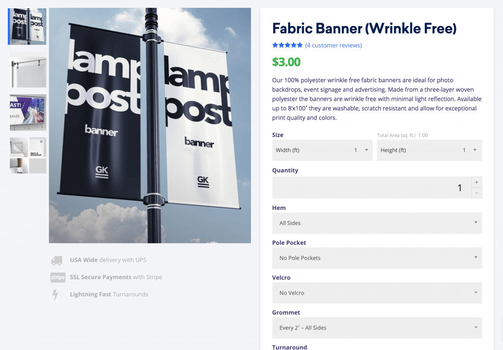customize woocommerce product pages like gorilla printing with fabric banners against a natural background