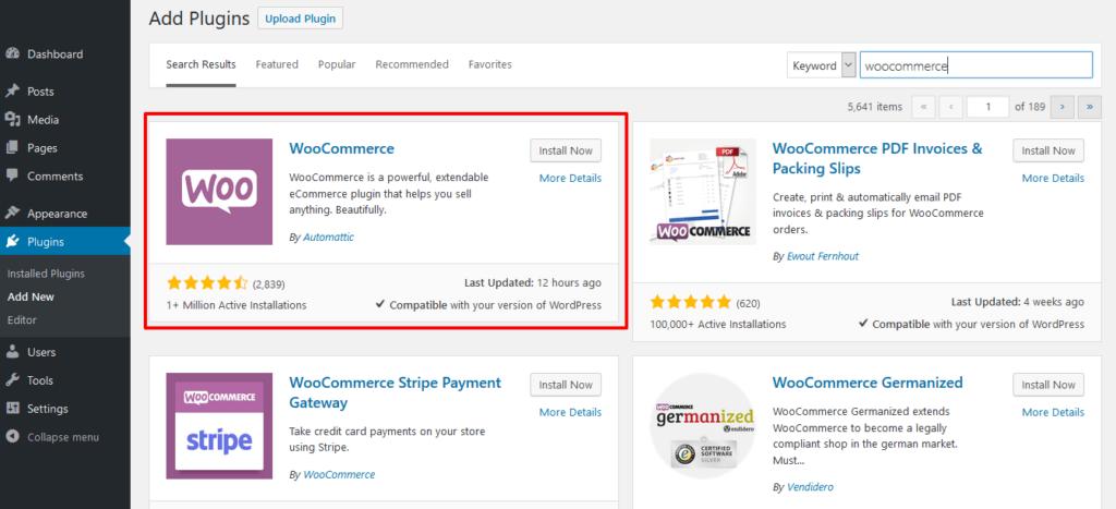 screen showing downloading woocommerce plugin for wordpress