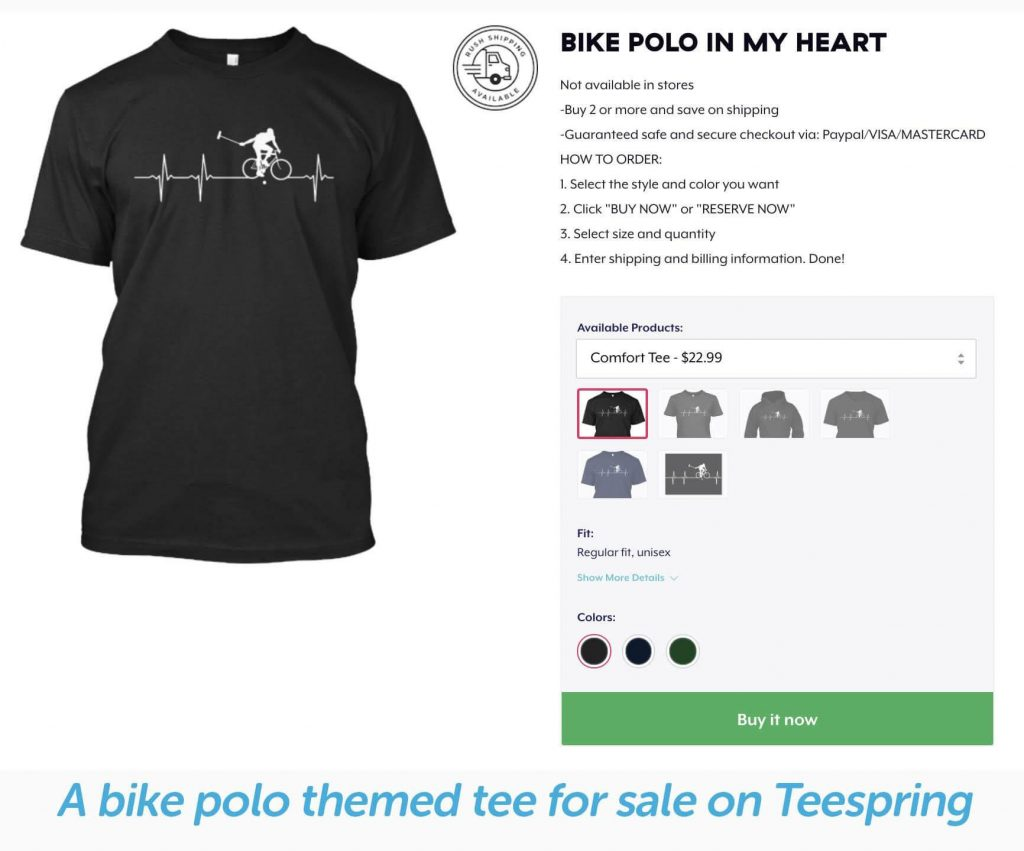 example of a bike bolo t shirt from teespring with minimum order volume