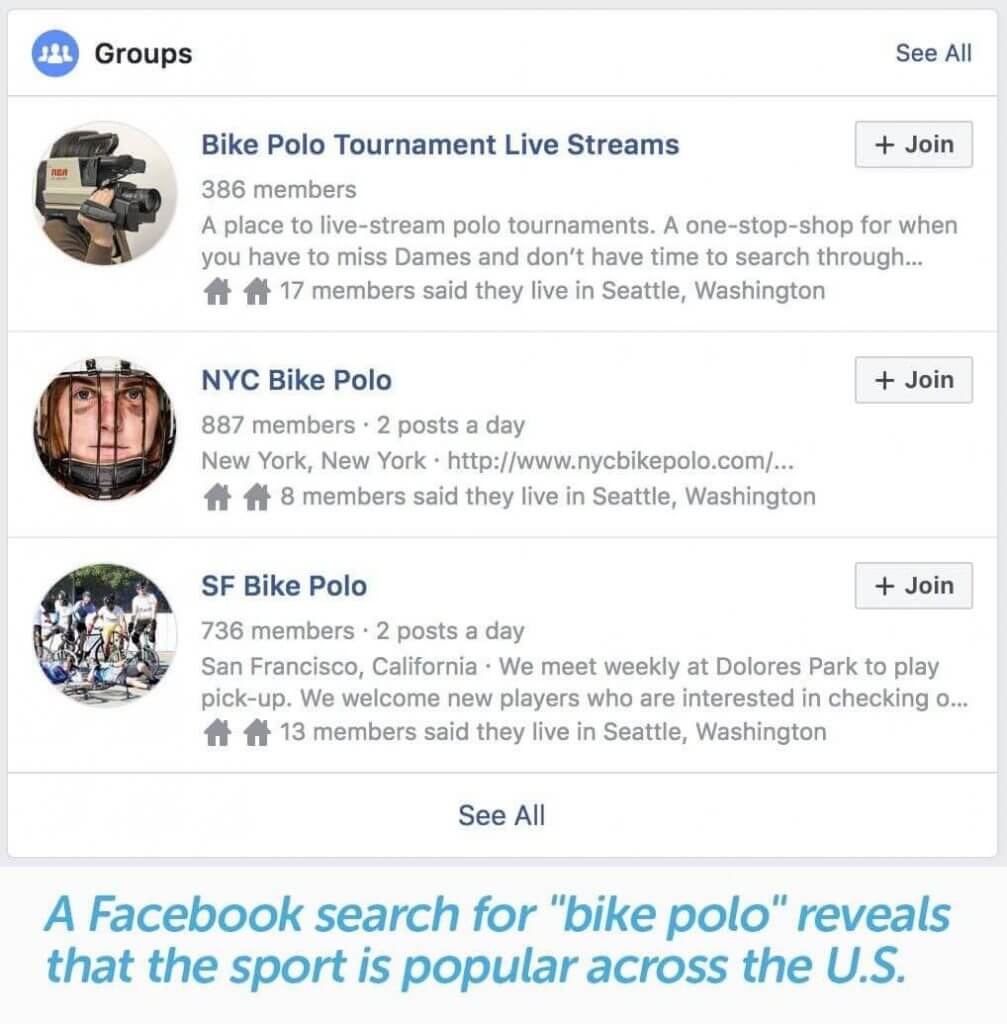 facebook group search for interest in niche