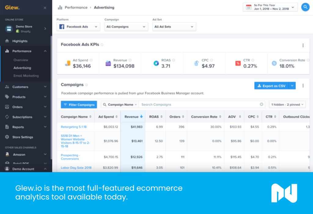 Glew.io is the most full-featured ecommerce analytics tool available today.