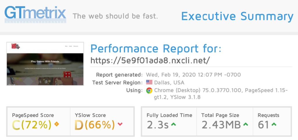 GTmetrix performance report for WooCommerce on Nexcess