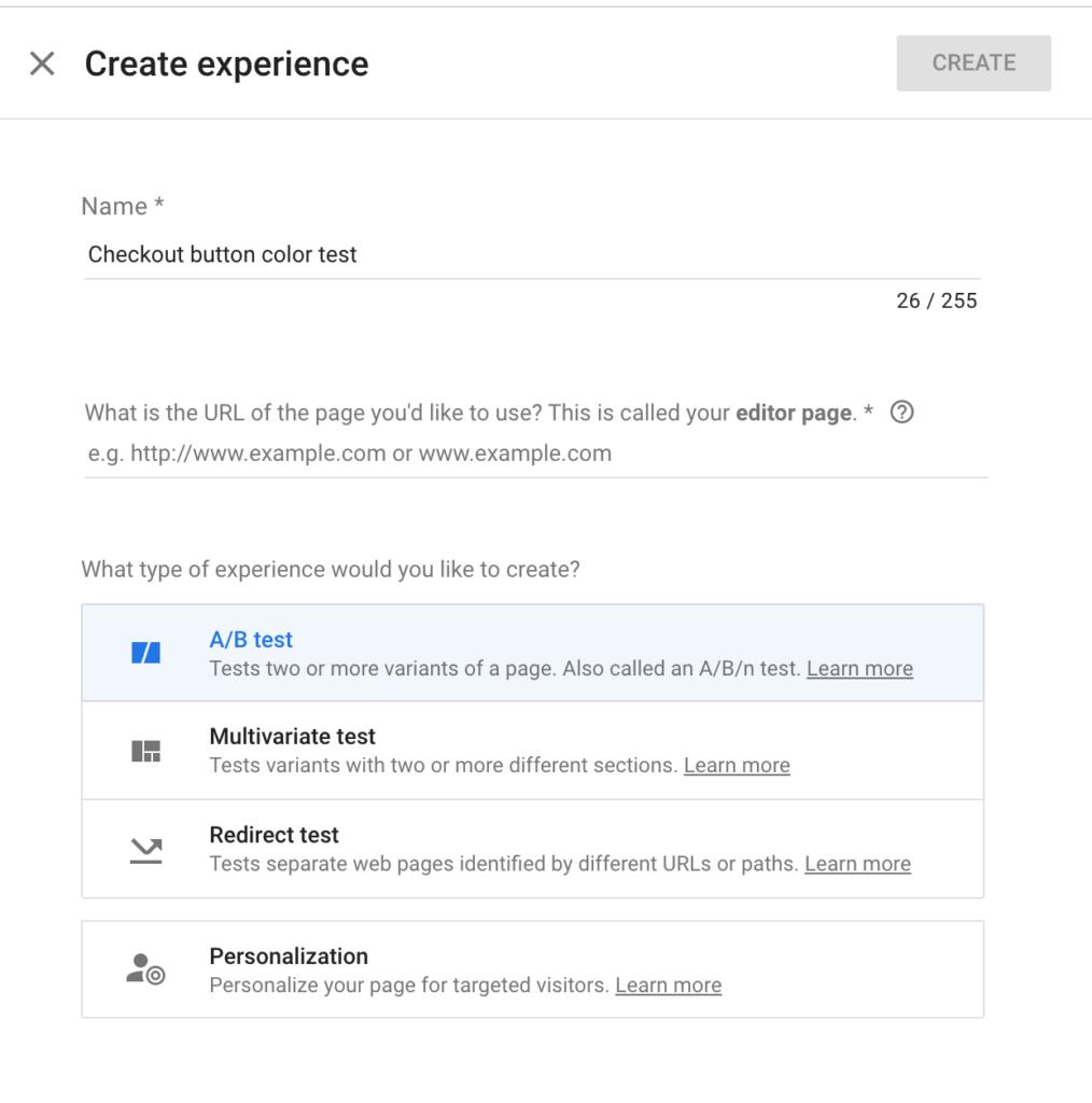 Google Optimize Create Experience - Step 1