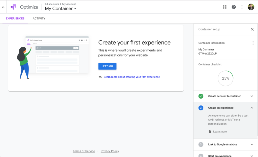 Google Optimize Create First Experience