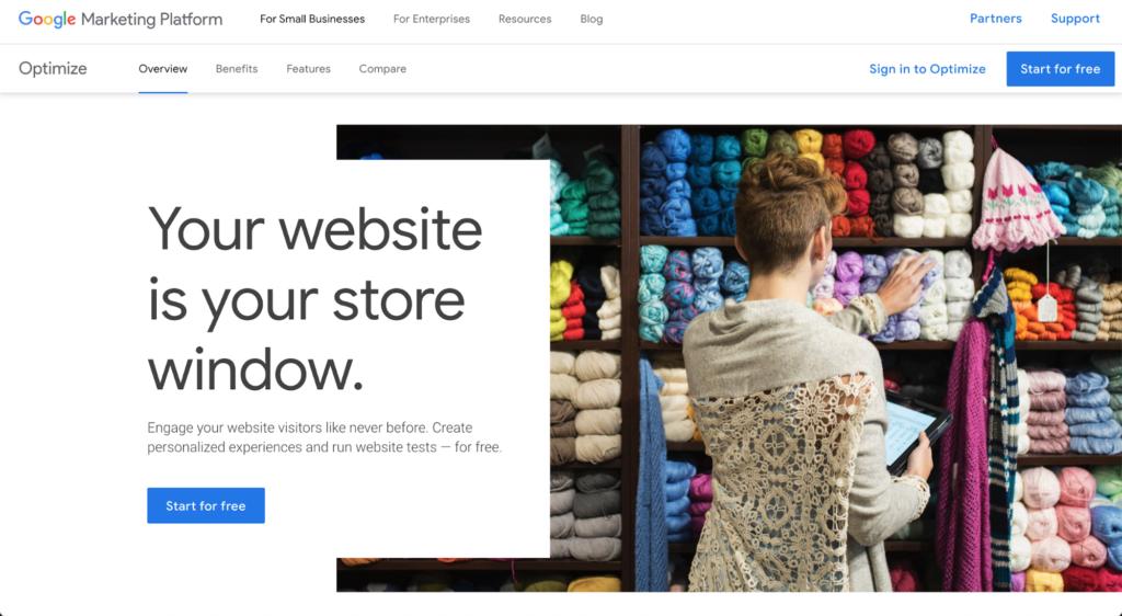 Google Optimize website
