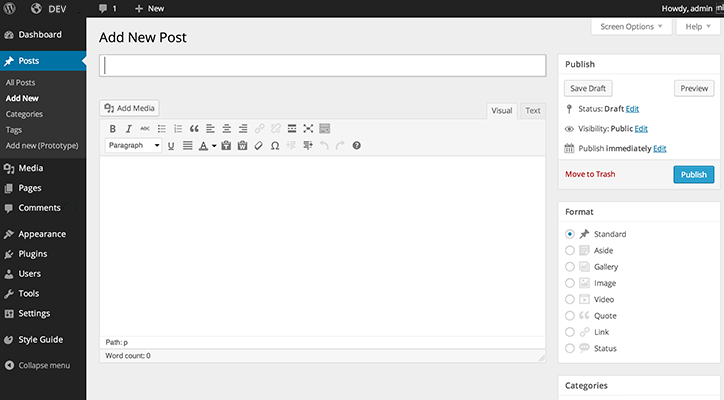 historical WordPress version 3.8