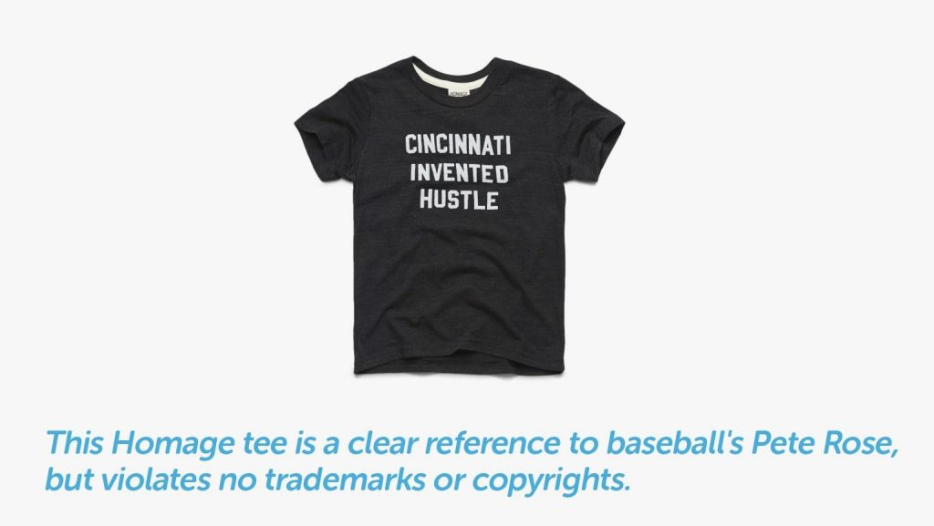homage tee represents clear reference to baseball without violating trademarks or copyrights