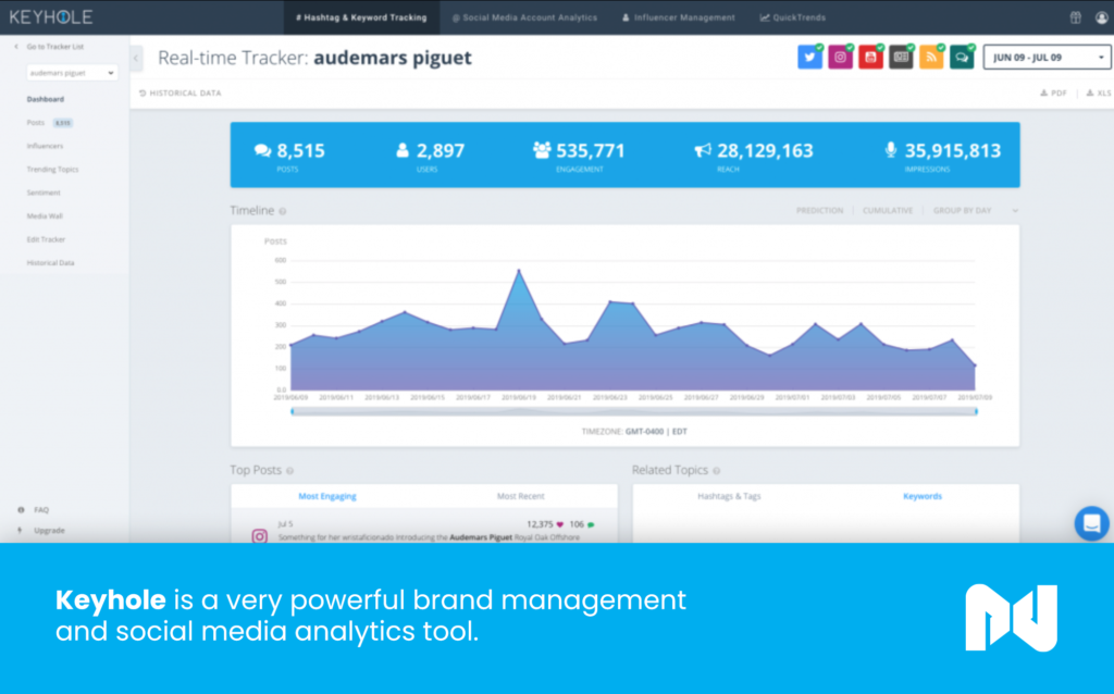 Keyhole is a very powerful brand management and social media analytics tool.