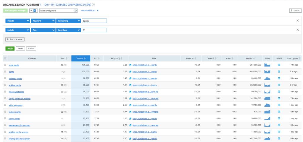 keyword research for ecommerce seo - SEMrush nordstrom excel export to dedupe against original list