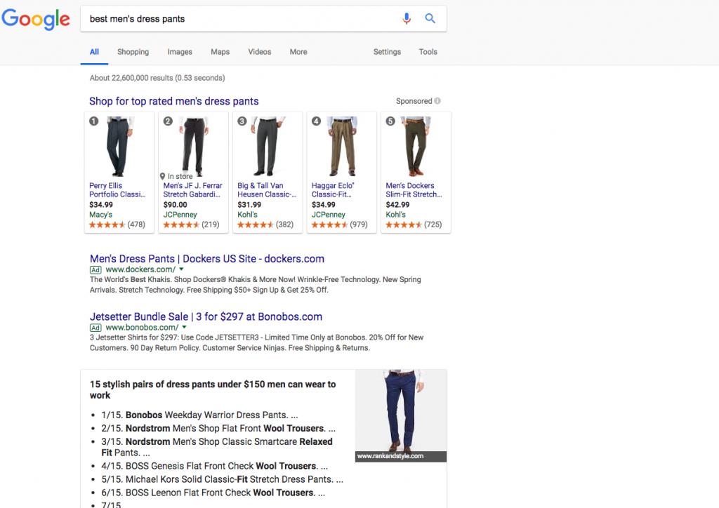 keyword research for ecommerce seo - best mens dress pants